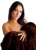 Donna abbastanza giovane in pelliccia Immagine Stock Libera da Diritti