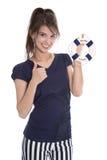Donna abbastanza sorridente isolata nello stile della marina con il salvagente. Immagini Stock