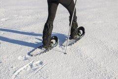 Donna in abbigliamento caldo di inverno che snowshoeing fotografia stock libera da diritti