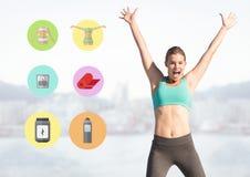 Donna adatta che excercising accanto alle icone di forma fisica Immagine Stock