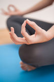 Donna adatta che fa yoga a casa Fotografia Stock Libera da Diritti