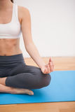 Donna adatta che fa yoga a casa Immagini Stock Libere da Diritti