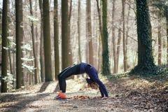 Donna adatta che fa yoga in foresta Fotografia Stock Libera da Diritti
