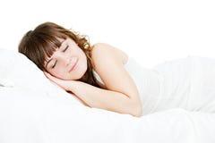 Donna addormentata graziosa Fotografia Stock Libera da Diritti