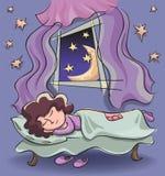 donna addormentata vicino ad una finestra aperta Fotografia Stock Libera da Diritti