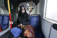 Donna del bus Immagine Stock