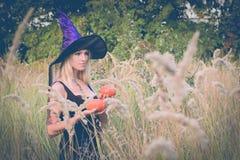 Donna adulta che posa in costume della strega Fotografia Stock Libera da Diritti