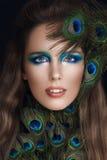 Donna affascinante con trucco di modo Fotografie Stock