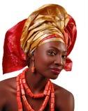 Donna africana con headwrap Fotografie Stock Libere da Diritti