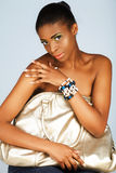 Donna africana con il sacchetto d'argento Fotografie Stock Libere da Diritti