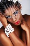 Donna africana con rete bianca fotografia stock libera da diritti