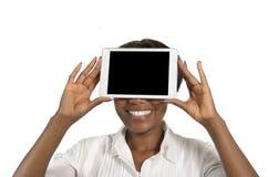 Donna africana di affari con il PC della compressa, spazio della copia libera Fotografia Stock Libera da Diritti