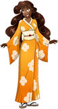 Donna africana in kimono giallo Fotografia Stock Libera da Diritti