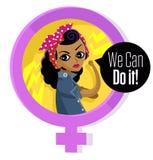 Donna africana nel simbolo della femmina di femminismo Fotografia Stock