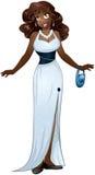 Donna africana in vestito da sera bianco Fotografia Stock Libera da Diritti