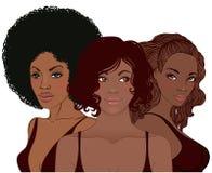 Donna afroamericana abbastanza giovane con taglio di capelli alla moda illustrazione di stock