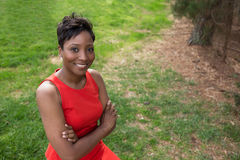 Donna afroamericana ben vestito Fotografia Stock