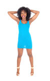 Donna afroamericana in vestito blu Fotografia Stock Libera da Diritti