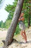 Donna all'albero Fotografia Stock