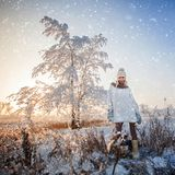 Donna all'inverno Fotografia Stock