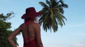 Donna all'isola di Praslin stock footage