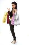 Donna alla moda con i sacchetti di acquisto fotografie stock