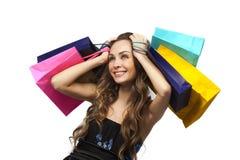 Donna alla moda con il sacchetto di acquisto immagini stock libere da diritti