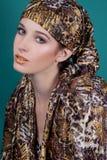 Donna alla moda con la sciarpa illustrazione di stock
