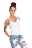 Donna alla moda in jeans strappati alla moda Fotografia Stock Libera da Diritti