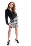 Donna alla moda su priorità bassa bianca Fotografie Stock