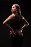 Donna alla moda in vestito nero Fotografia Stock Libera da Diritti