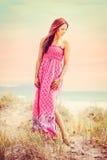 Donna alla spiaggia fotografia stock