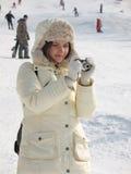 Donna alla vacanza di inverno Fotografia Stock