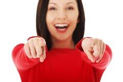 Donna allegra dello studente che indica su voi Immagini Stock Libere da Diritti