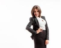 Donna allegra di affari Immagini Stock Libere da Diritti