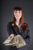 Donna allegra di affari con i dollari Immagini Stock