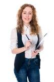 Donna allegra di affari con la penna e compressa per le note Fotografie Stock