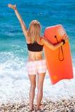 Donna allegra sulla spiaggia Immagine Stock Libera da Diritti
