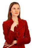 Donna amichevole di affari. Isolato su bianco Immagine Stock