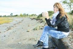 Donna 60 anni del caffè Fotografia Stock