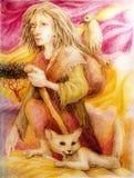 Donna antica del pellegrino con la volpe bianca e un uccello Immagine Stock
