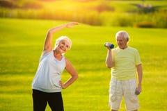 Donna anziana che fa esercizio immagine stock