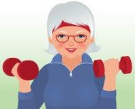 Donna anziana che fa forma fisica illustrazione di stock