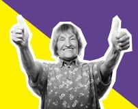 Donna anziana che mostra segno giusto, collage di arte Immagini Stock