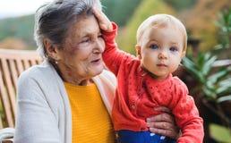 Donna anziana che si siede con una pronipote del bambino su un terrazzo in autunno fotografia stock