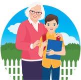 Donna anziana con il suo scolaro del nipote Fotografia Stock