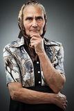 Donna anziana con la bandana Fotografia Stock