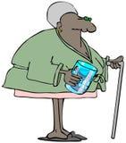Donna anziana con le protesi dentarie in un vetro illustrazione vettoriale