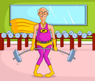 Donna anziana del retro supereroe di stile Immagini Stock
