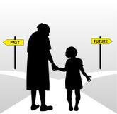 Donna anziana e bambino Immagine Stock